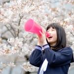 桜メガホン応援
